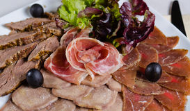 Assorted cold meat platter Royalty Free Stock Photos