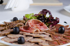 Assorted cold meat platter Stock Photography