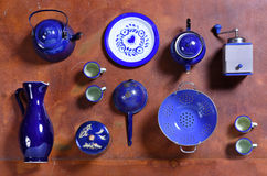 Assorted collection of blue kitchenware and tools Stock Photography