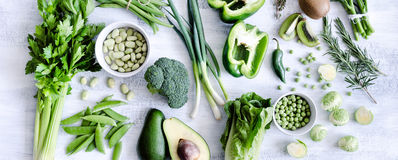 Assorted collection of green vegetables Royalty Free Stock Photo