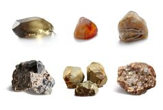 Assorted collection of mineral. Сollection precious, ornamental stones and rocks Royalty Free Stock Images