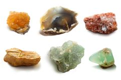 Assorted collection of mineral. Сollection semiprecious, ornamental stones and rocks Stock Photos