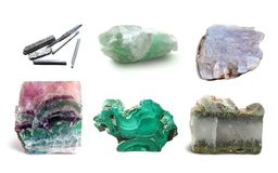 Assorted collection of mineral. Сollection semiprecious, ornamental stones and rocks Royalty Free Stock Image