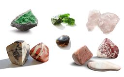 Assorted collection of mineral. Сollection semiprecious, ornamental stones and rocks Stock Image