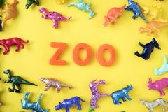 Assorted-color Animal Miniatures and Zoo Letter Decor Royalty Free Stock Images