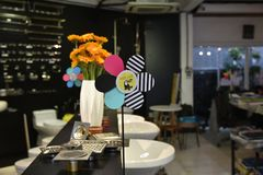 Assorted-color Flower Decoration Beside Stainless Steel Sink Holes Stock Photography