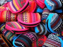 Tribal Fabric Coin Purses. Assorted color of handmade tribal fabric coin purses at the night market Stock Photos