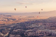 Assorted Color Hot Air Balloons Flying over Mountain Ranges during Day Royalty Free Stock Photos