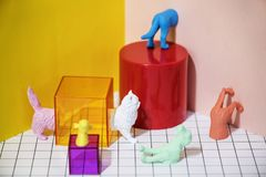 Assorted-color Plastic Animal Toy Set royalty free stock photography