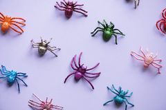 Assorted-color Spider Plastic Toy Collection Royalty Free Stock Photo