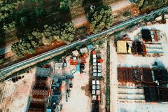Assorted-color Vehicle Park on Open Field Aerial Photography royalty free stock image