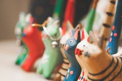 Assorted Color Wooden Cat Toy royalty free stock image