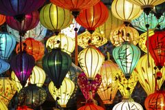 Assorted Colored Lighted Paper Lanterns Royalty Free Stock Images
