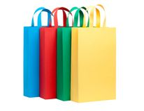 Assorted colored shopping bags Stock Photos