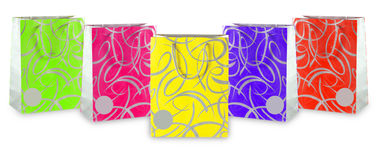 Assorted colored shopping bags including. On a white background. Add your own design or logo. (Save Paths Stock Image