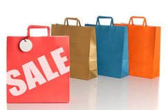 Assorted colored shopping bags Royalty Free Stock Images