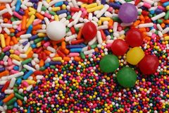 Assorted colored sprinkles, for backgrounds or textures stock photos