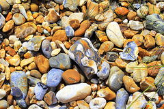 Assorted colorful beach pebbles closeup Royalty Free Stock Photos