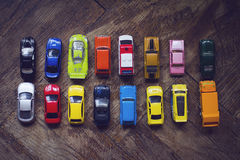 Assorted colorful car collection on floor Royalty Free Stock Image