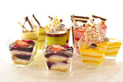 Assorted colorful desserts Stock Images