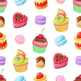 Assorted colorful desserts, cupcakes and macaroons. Seamless vector pattern. Assorted bright colorful desserts, cupcakes and macaroons. Seamless vector pattern Stock Photo