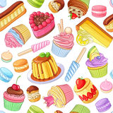 Assorted colorful desserts, pastries, sweets, candies, cupcakes.. Assorted bright colorful desserts, pastries, sweets, candies, cupcakes. Seamless vector Stock Image