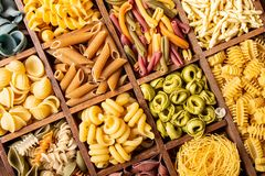 Assorted Colorful Italian Pasta In Wooden Box Royalty Free Stock Photo