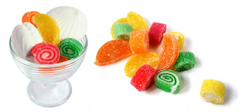 Assorted colorful jelly with pastille. Assorted colorful jelly-candies with pastille Royalty Free Stock Images