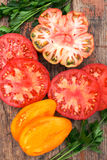 Assorted Colorful Juicy Ripe Heirloom Tomatoes Royalty Free Stock Photo