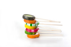 Assorted colorful lollipops Royalty Free Stock Photography