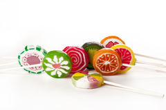Assorted colorful lollipops Royalty Free Stock Images