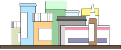 Assorted medicine and pills on shelf, no background royalty free illustration