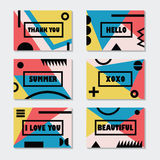 Assorted colorful modern cards templates set with black messages and symbols Royalty Free Stock Images