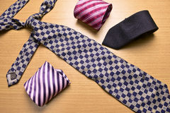 Assorted colorful Necktie on Wood Background. Necktie, Assorted colorful Necktie on Wood Background Stock Photos