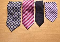Assorted colorful Necktie on Wood Background. Necktie, Assorted colorful Necktie on Wood Background Royalty Free Stock Image