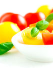 Assorted colorful red and yellow cherry tomatoes in plate close Stock Photography