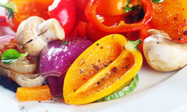 Assorted colorful roast or grilled vegetables stock photography