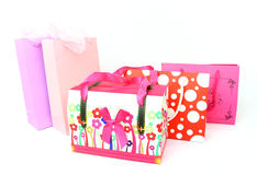 Assorted colorful shopping bags isolated Stock Photography