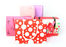 Assorted colorful shopping bags isolated Royalty Free Stock Images