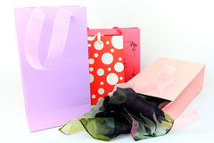 Assorted colorful shopping bags isolated Royalty Free Stock Photos