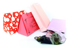 Assorted colorful shopping bags isolated Royalty Free Stock Photography