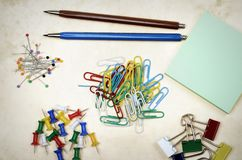 Assorted colorful stationery Stock Photos