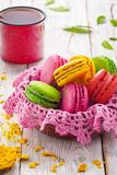 Assorted colorful sweet gentle soft French macaroons dessert cake macarons stock photo
