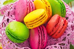 Assorted colorful sweet gentle soft French macaroons dessert cake macarons stock image
