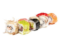 Assorted colorful tasty sushi isolated Stock Photography