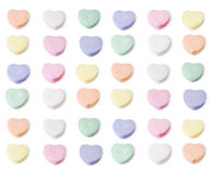 Assorted colors of blank candy hearts. Clipping path is included in the file royalty free stock image