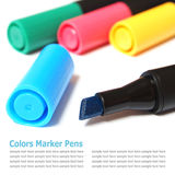 Assorted Colors Marker Pens (highlighters pen) Isolated on White Royalty Free Stock Photography