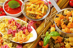 Assorted coloured pasta. Various types of coloured pasta royalty free stock photos