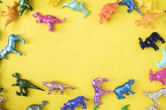 Assorted Coloured Plastic Dinosaur Toys Royalty Free Stock Images