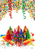 Assorted confetti with shiny colorful streamer Stock Photo